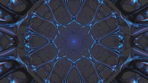 ネオンレーザーライトによるクールな幾何学的形状のイラスト-背景に最適 無料写真