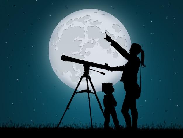 望遠鏡で空を見ている母と子のイラスト Premium写真