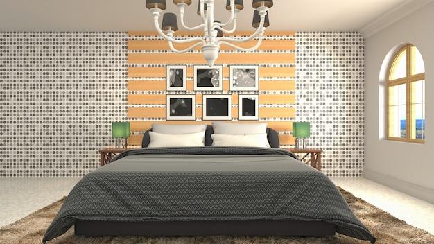 寝室のインテリアのイラスト Premium写真