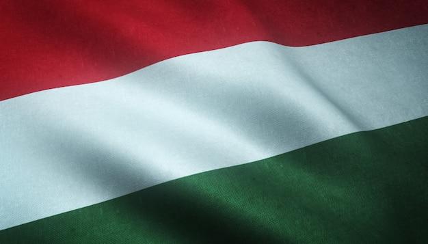 汚れた質感とハンガリーの手を振る旗のイラスト 無料写真
