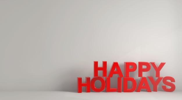 白い背景に太字の赤い文字で書かれた幸せな休日の言葉のイラスト 無料写真