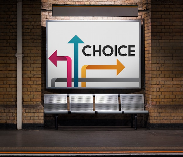 Illustration of opportunities at turning point to be change on subway Premium Photo