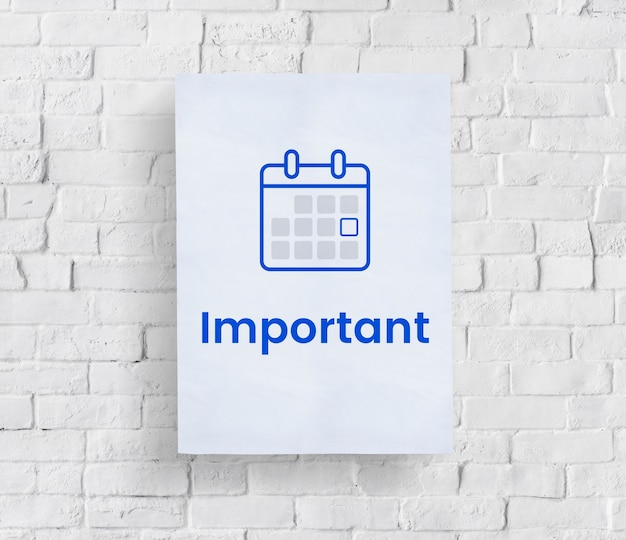 Illustration of personal organizer calendar on brick wall Free Photo