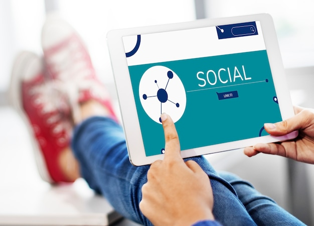 Illustration of social media online communication on digital tablet Premium Photo