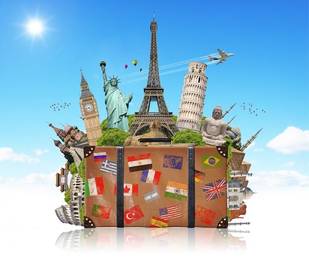 Illustration of a suitcase full of famous monument Premium Photo