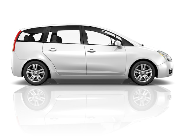 Illustration of a white car Premium Photo