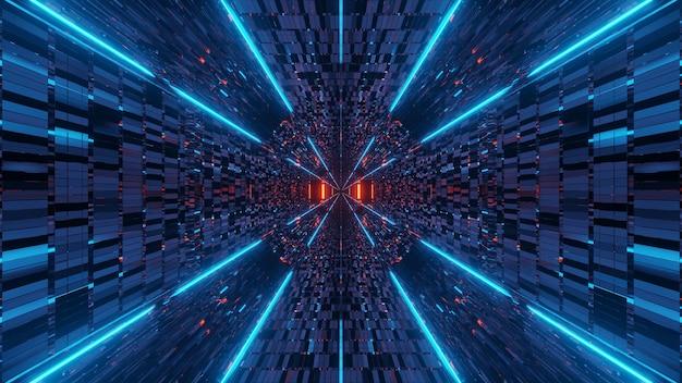 抽象的なオレンジと青の光の効果を持つイラスト 無料写真