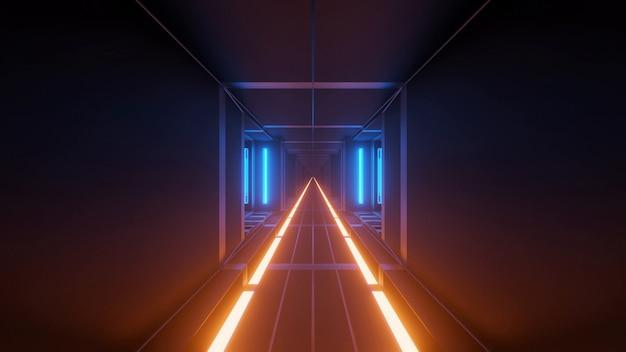 멋진 미래 공상 과학 테크노 조명으로 그림 무료 사진