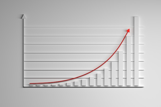 Illustration with statistics elements. growing exponential function with red arrow. Premium Photo
