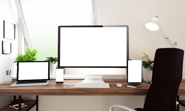 ウィンドウオフィスのデスクトップ機器、imac、macbook、ipad、iphone Premium写真