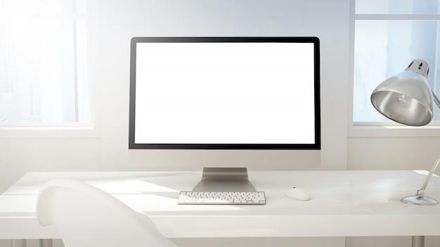 空白の画面のimacコンピューターのあるワークスペース Premium写真