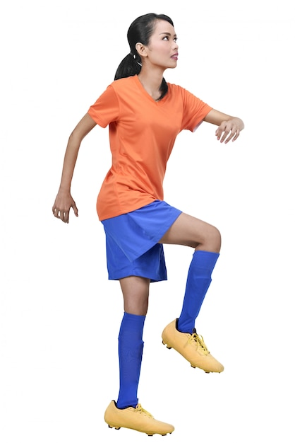 Image of asian female soccer player practicing Premium Photo