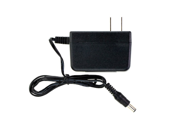 Image of black electric power adapter isolated on white Premium Photo