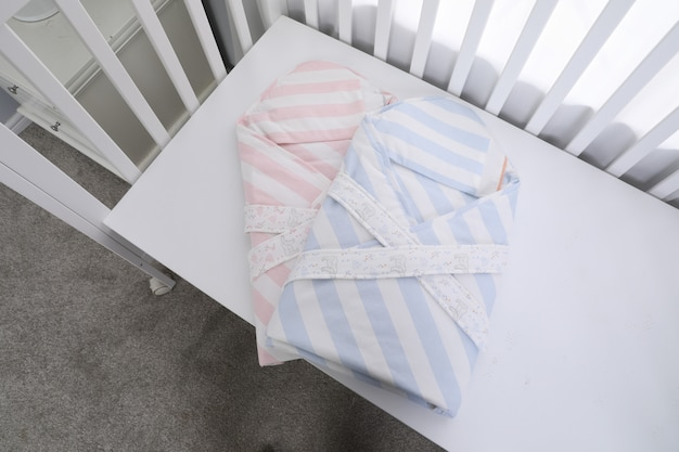 The image of child's bed under the white background Premium Photo