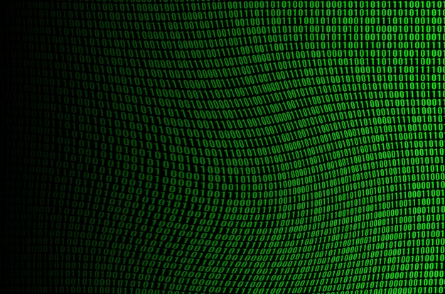 An image of a corrupted and distorted binary code made up of a set of green digits on a black background Premium Photo