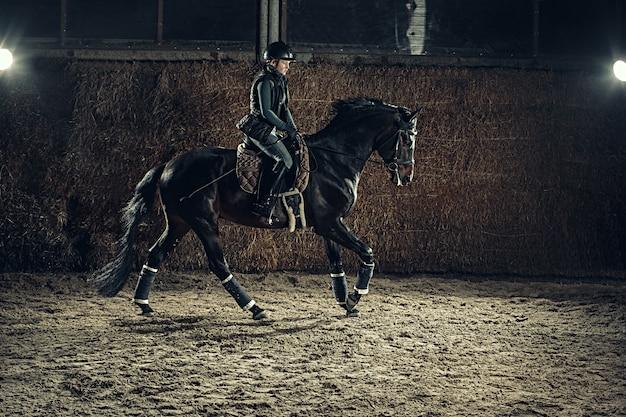 Image of happy female sitting on purebred horse Free Photo