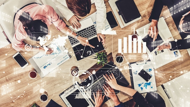 Образное изображение деловых людей и сотрудников финансовых компаний Premium Фотографии