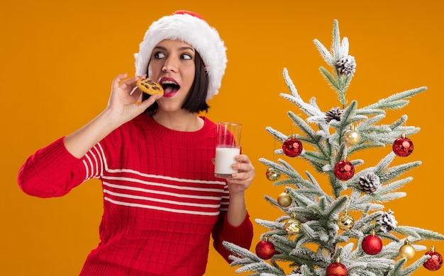 Ragazza colpita che porta il cappello della santa che sta vicino all'albero di natale decorato che tiene il biscotto mordace del latte che esamina il lato isolato su fondo arancio Foto Gratuite