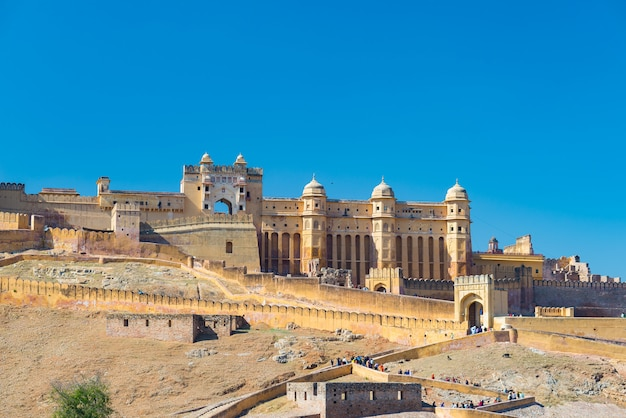 The impressive landscape and cityscape at amber fort, famous travel destination in jaipur, rajasthan, india. Premium Photo