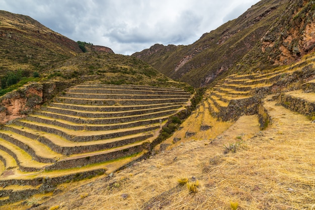 Inca's terraces in pisac, sacred valley, peru Premium Photo