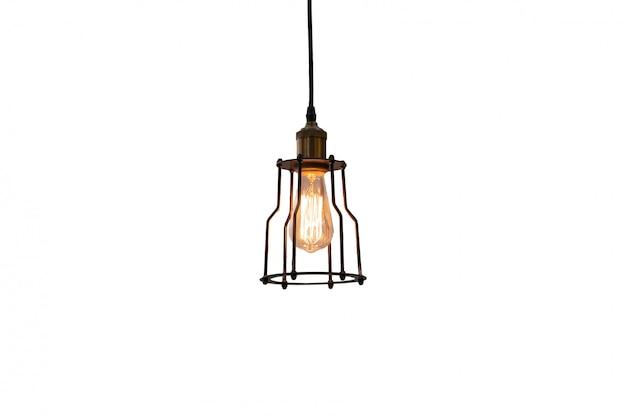Incandescent lighting bulb decorate retro lamp isolate on white Premium Photo