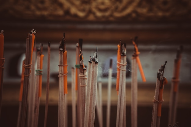 Incense sticks burning in an altar at temple Premium Photo
