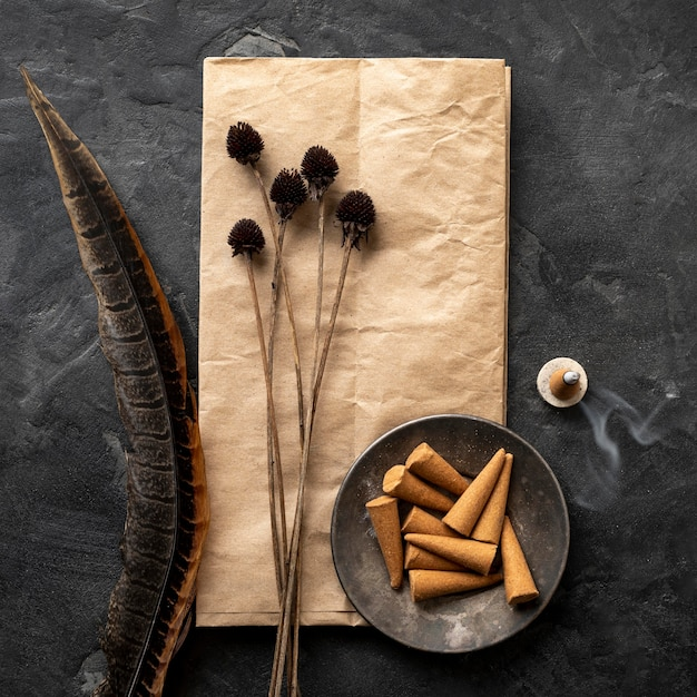 Incenses cones on paper Free Photo