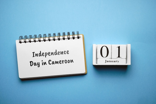 Independence day in cameroon of winter month calendar january. Premium Photo