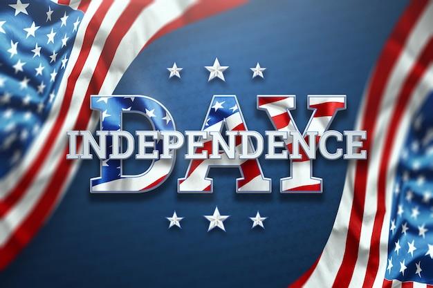 День независимости надпись на синем фоне Premium Фотографии