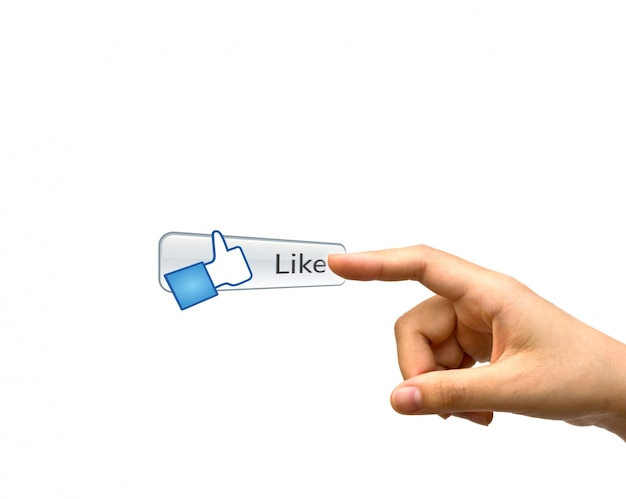 Index finger next to a like button Free Photo
