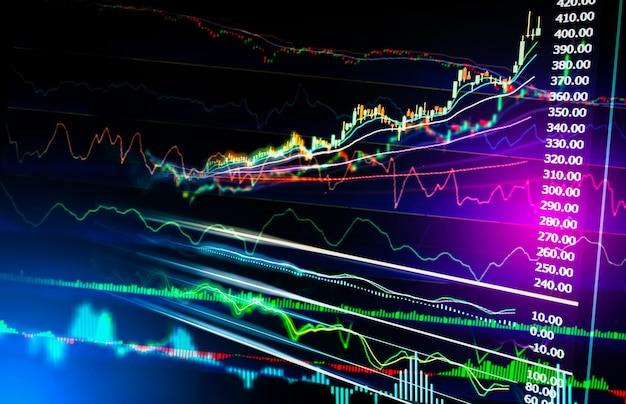 Index graph of stock market financail data analysis. Premium Photo