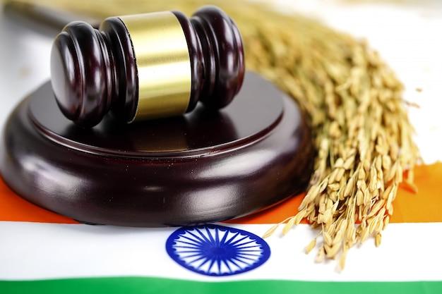 India flag and judge hammer Premium Photo