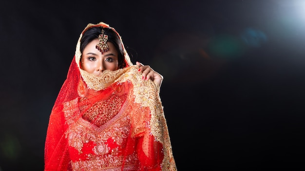 Indian beauty face big eyes with perfect wedding Premium Photo