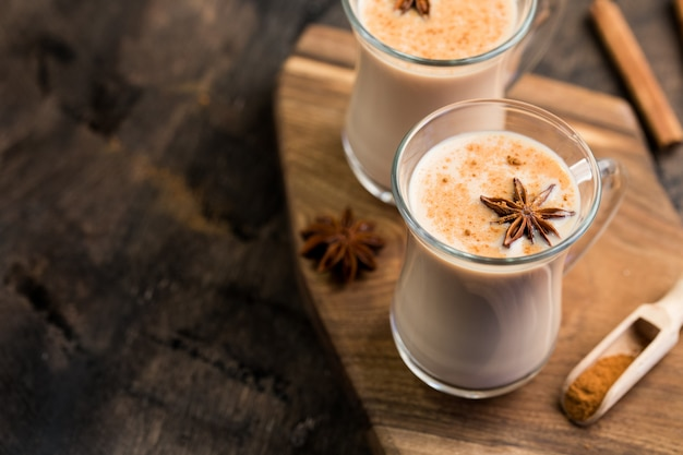 Indian black tea. tea masala. tea spiced with milk. spicy warming tea with milk Premium Photo