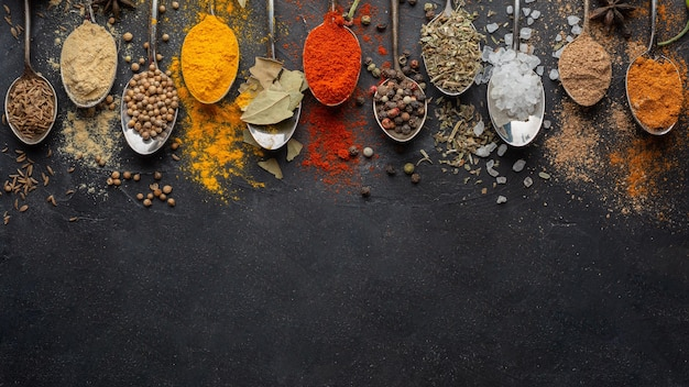 Indian condiments with copy-space above view Free Photo