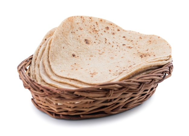 Indian cuisine chapati on white background Premium Photo