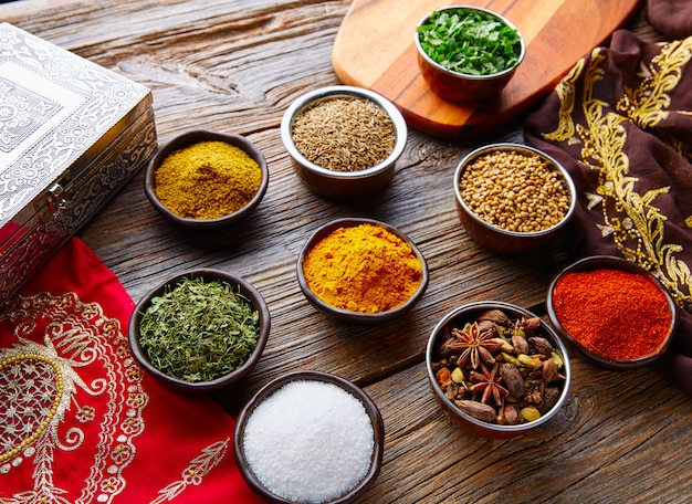 Indian cuisine spices mix as coriander curry Premium Photo