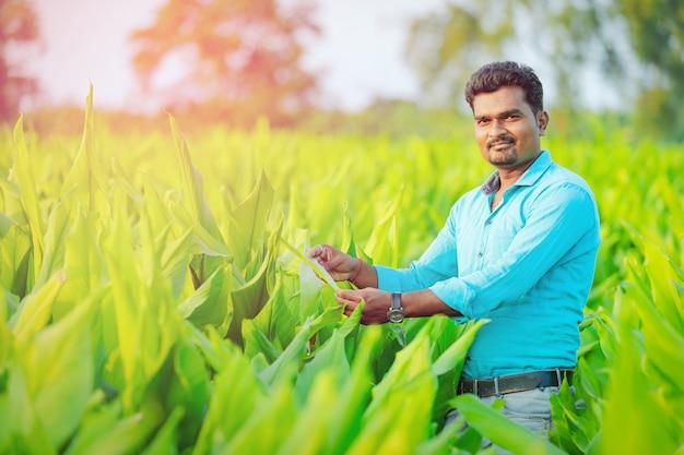Indian farmer at field Premium Photo