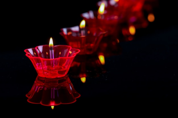 Indian festival diwali , colorful lamps of oil Premium Photo