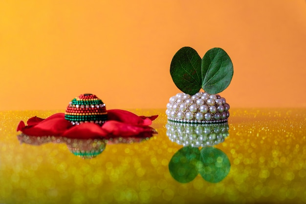 Indian festival dussehra, leaf and rice Premium Photo