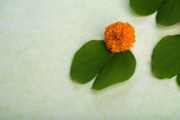 Indian festival dussehra, showing golden leaf (bauhinia racemosa) and marigold flowers Premium Photo