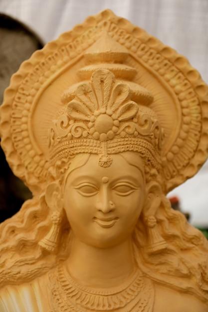 Indian festival navratri , sculpture of goddess durga Premium Photo