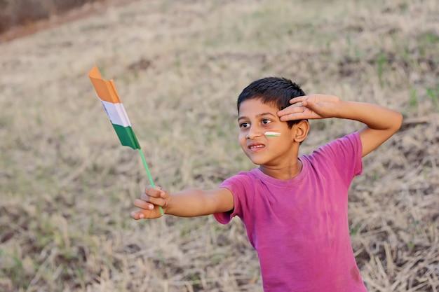 Indian flag in child hand Premium Photo