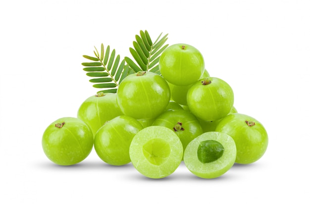 Indian gooseberry with leaf isolated on white background. full depth of field Premium Photo