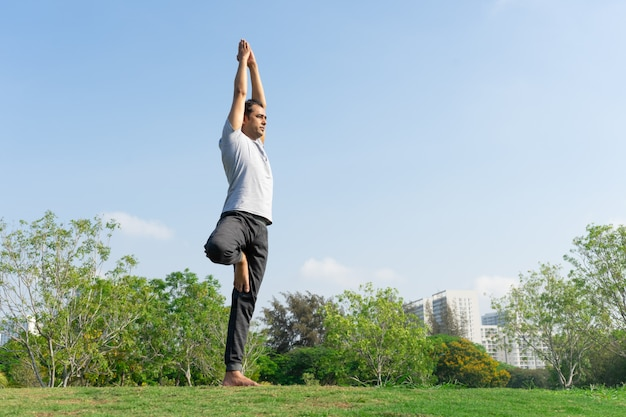 Indian male yoga instructor standing in tree pose on green lawn with bushes Free Photo