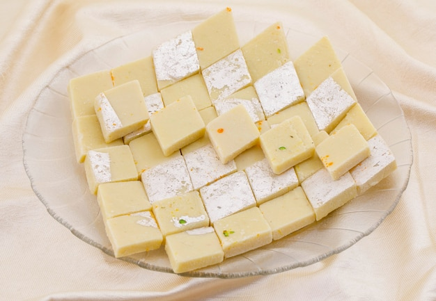 Indian special sweet food kaju katli Premium Photo