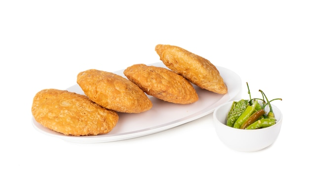 Indian street food spicy kachori Premium Photo