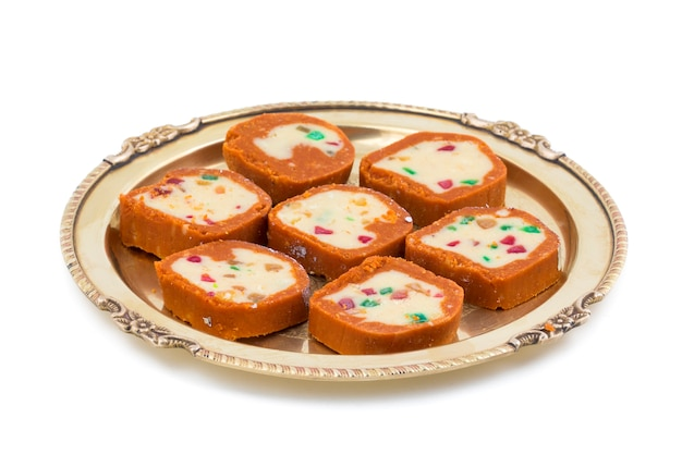 Indian sweet colourful mawa peda Premium Photo