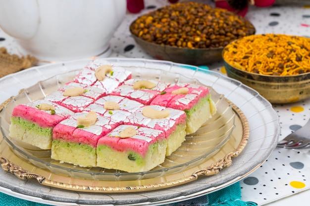 Indian sweet food dryfruit barfi Premium Photo