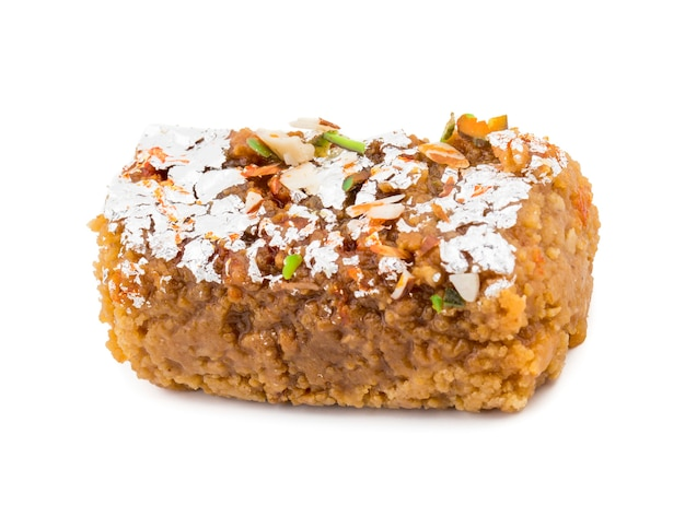 Indian sweet food gulab halwa on white background Premium Photo